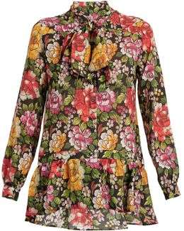 Frida Floral-print Tie-neck Silk Blouse