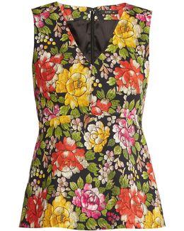 Carmen Peony-print Stretch-cotton Sleeveless Top