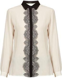 Paisley Lace-placket Silk Shirt