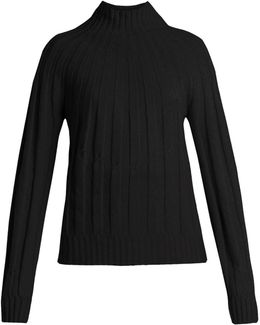 Roll-neck Ribbed-knit Cashmere Sweater