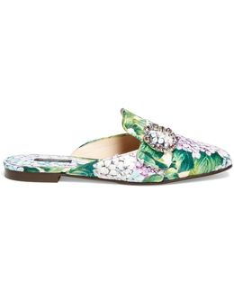 Hydrangea-brocade Backless Loafers