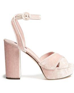 Cross-strap Velvet Platform Sandals
