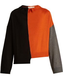 Tri-colour Ruched-neck Wool Knit Sweater