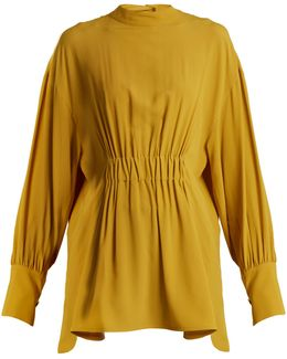 High-neck Crepe Blouse