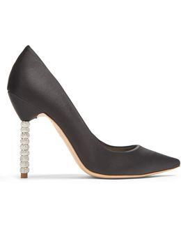 Coco Crystal Embellished-heel Satin Pumps