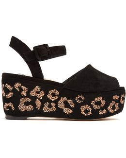 Suki Crystal-embellished Suede Flatform Sandals