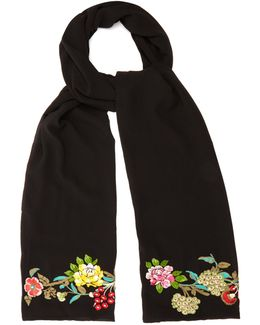 Floral-embroidered Silk Scarf