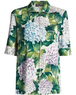 Ortensia-print Charmeuse Pyjama Top