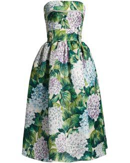 Hydrangea-print Organza Strapless Dress