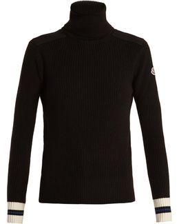 Contrast-cuff Roll-neck Wool Sweater