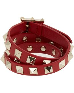 Rockstud Wrap-around Leather Bracelet