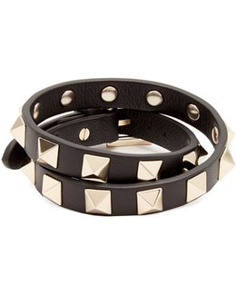 Rockstud Wraparound Leather Bracelet