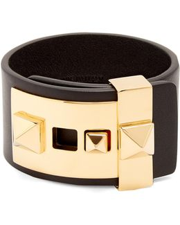 Rockstud Wide Leather Bracelet