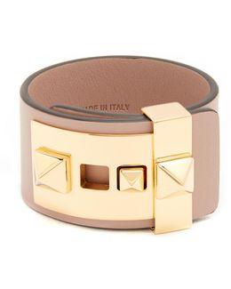 Rockstud Wide Leather Bracelet