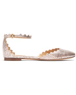 Lauren Scallop-edged Crackled-leather Flats