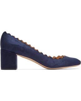 Lauren Scallop-edged Block-heel Velvet Pumps