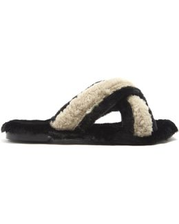 St Moritz Shearling And Faux-fur Slides