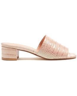 Sophie Crocodile-effect Leather Mules