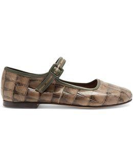 Thelma Crocodile-effect Leather Flats