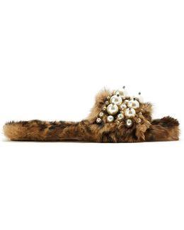 Embellished Rabbit-fur Slides