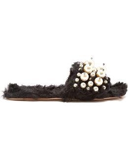Embellished Faux-shearling Slides
