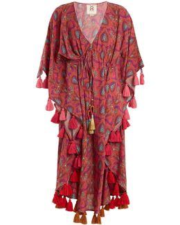 Amrita Paisley-print Tasseled Cotton-blend Kaftan