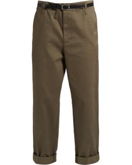 Golden Cotton-twill Cropped Chino Trousers