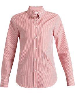 Janice Point-collar Striped Cotton Shirt