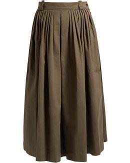 Anita Pleated Cotton-blend Midi Skirt