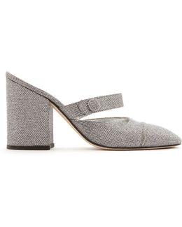 Block-heel Lamé Mules