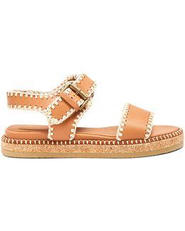 Blanket-stitch Embellished Leather Sandals