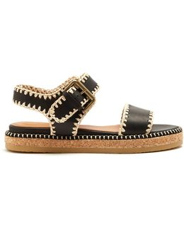 Blanket-stitch Embellished Leather Sandals