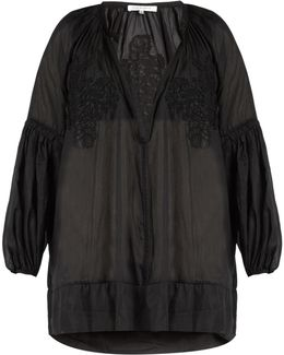 Cotton-blend Voile Cover-up