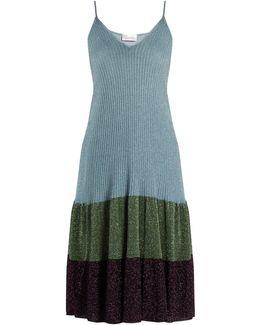 Metallic Ribbed-knit Dress