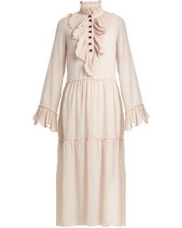 Ruffle-trimmed Georgette Dress
