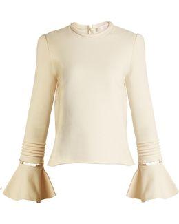 Frill-sleeve Cotton-jersey Sweatshirt
