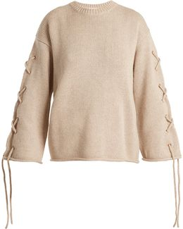 Lace-up Rolled-edge Knit Sweater