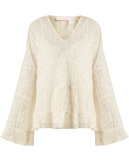 Tiered Pleated Floral-lace Top