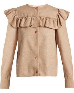 Ruffle-trimmed Wool-blend Shirt