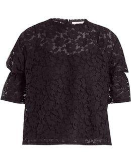 Ruffled-cuff Lace-knit Top