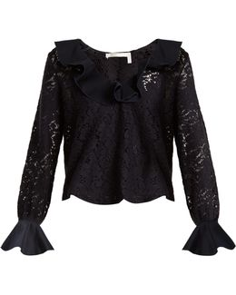 Ruffled-neck Lace-knit Top