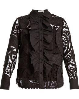 Ruffle-trimmed Macramé-lace Cotton-blend Shirt