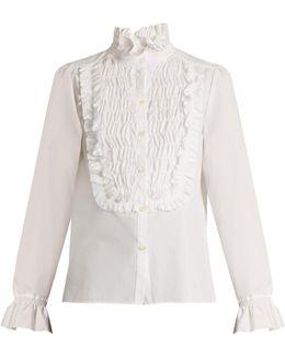 Smocked-detail Cotton Shirt