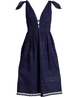 Deep V-neck Broderie-anglaise Dress