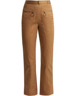 High-rise Cotton Straight-leg Trousers