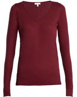 V-neck Cotton Long-sleeved Pyjama Top