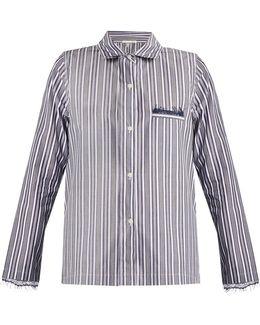 Lace-trimmed Striped-cotton Pyjama Shirt