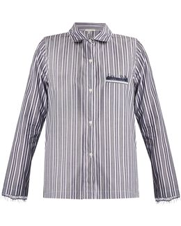 Lace-trimmed Striped-cotton Pyjama Shirt