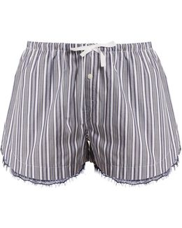 Lace-trimmed Striped-cotton Pyjama Shorts