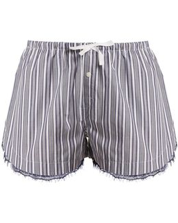 Lace-trimmed Striped-cotton Pyjama Shorts